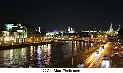 Embankment of the Moskva River and the night traffic,...