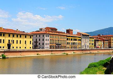 Pisa - Embankment of The River Arno in The Italian City of ...