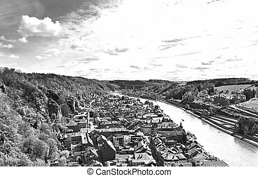 River Meuse in the Belgian City of Dinant - Embankment of...