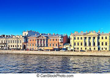 Embankment of the river of Neva in St. Petersburg, Russia