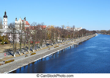 Embankment of the river Ping on a sunny spring day
