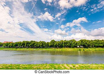 embankment of the river Uzh. beautiful summer scenery....