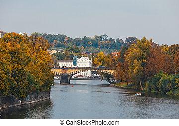 Embankment of the Vltava river in Prague, the capital of Czech Republic