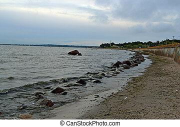 embankment on coastline at Baltic Sea