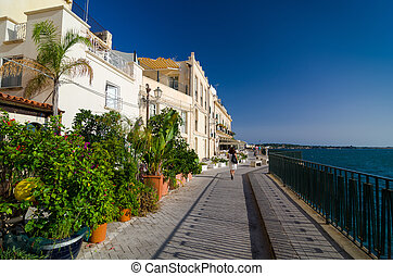 Embankment on the island of Ortygia in Syracuse, Italy. -...