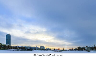 Embankment Yekaterinburg. Russia. Time Lapse. 4K