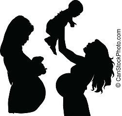 embarazada, madre, vector, siluetas