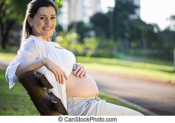 embarazada, sentar banco, en el parque, en, ocaso