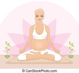 embarazada, yoga, mujer, ejercicios