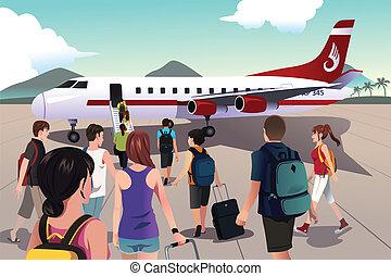 embarcar, avião, turistas
