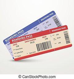 embarcar, bilhetes, conceito, viagem, vetorial, linha aérea, passagem, viagem