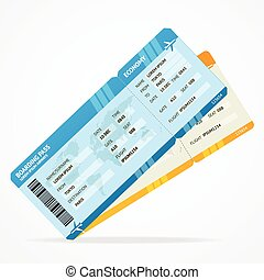embarcar, bilhetes, modernos, vetorial, linha aérea, passagem