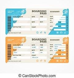 embarcar, bilhetes, set., vetorial, passagem, avião