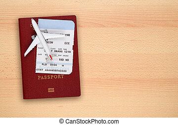 embarcar, brinquedo, topo, passagem, aeronave, passaporte, escrivaninha, vista
