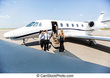 embarcar, mulher, jato, privado, terminal, elegante