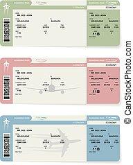 embarcar, passageiro, bilhetes, vetorial, linha aérea, passagem