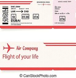 embarcar, passageiro, vetorial, linha aérea, passagem, bilhete