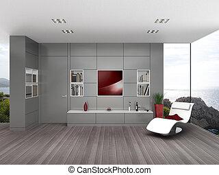 embarcar, sala de estar, cinzento, parede, contemporâneo, lustroso