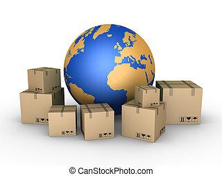 embarque, de, paquetes, todos, encima, el mundo