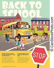 embarquement, école, flayer, road., autobus, enfant, dos, vecteur, gosses, sécurité, stop., croisement, bus., dépeindre, dépassement, illustration.
