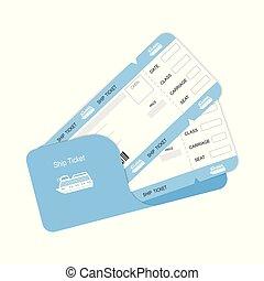 embarquement, billets, deux, ou, passe, bateau, template.