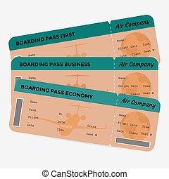 embarquement, billets, ensemble, isolé, pass., vert, ligne aérienne, fond, orange, blanc