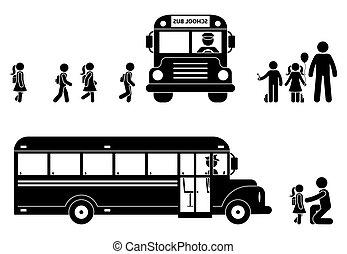 embarquement, figure, autobus, crosse, enfants, icône