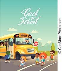 embarquement, gosses école, road., autobus, concept., enfant, dos, vecteur, bus., équitation, stop., croisement, sécurité, illustration.