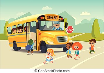 embarquement, gosses école, road., flayer., autobus, concept., arrêt, dos, vecteur, bus., équitation, enfant, croisement, sécurité, illustration.