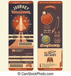 embarquement, mars, voyage, passe