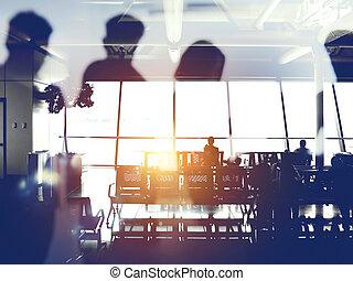 embarquement, passagers, aéroport, silhouettes, attente, double exposition