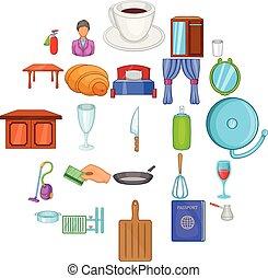 embarquement, style, icônes, ensemble, maison, dessin animé