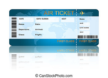 embarquement, sur, isolé, ligne aérienne, passe, billet, blanc