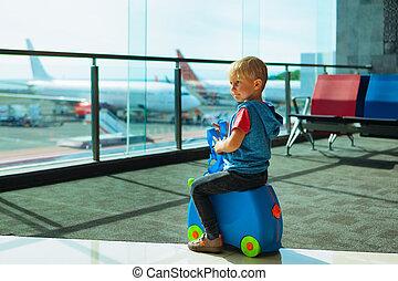 embarquement, vol, transit, attente, aéroport, enfant, salle