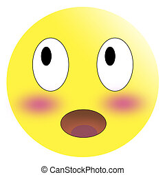 Embarrassed emoticon with flushed red cheeks