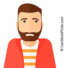 Embarrassed hipster man. - Embarrassed hipster man with the...