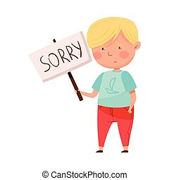 Embarrassed Little Boy with Guilty Look Holding Placard with Sorry Word Vector Illustration. Cute Kid Feeling Sorry and Expressing Regret