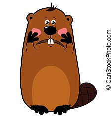 Embarrassed or confused cartoon beaver on white background, emotions