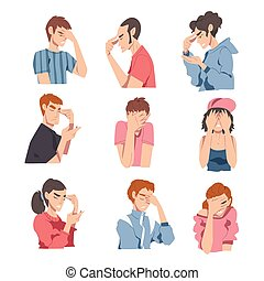 Embarrassed People Set, Regretful Persons Sorry and ...