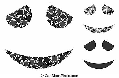 Embarrassed smiley Mosaic Icon of Inequal Elements