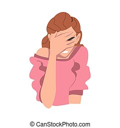 Embarrassed Woman Covering her Face with Hand, Regretful ...