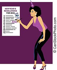 New Year Resolutions - Embarrassed woman in a party hat...