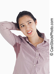 Embarrassed woman with sweat patches - Embarassing woman...