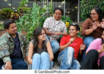 Embarrassing moment - Attractive group of Hispanic students...