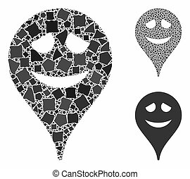 Embarrassment smiley map marker Composition Icon of Joggly Parts