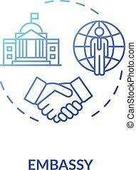 Embassy concept icon. Diplomatic mission idea thin line ...