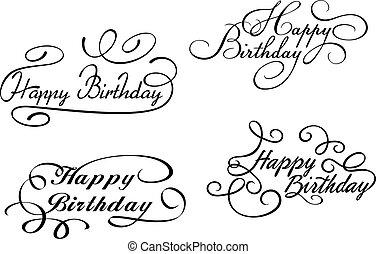 embellishments, joyeux anniversaire, calligraphic