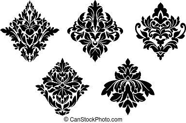 embellishments, mönster, sätta, blommig, årgång