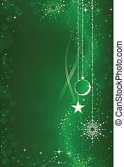 embellissement, fond, résumé, vert, ornements, noël