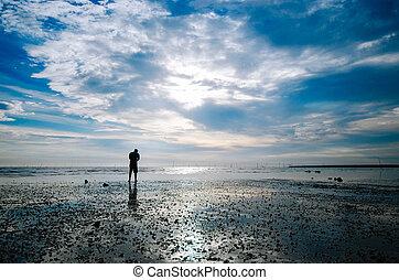 ember, árnykép, álló, tengerpart
